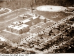 Aerial view of Park in 1957, the year we started. Washington Park pool is in the upper right(built in 1939 and closed in