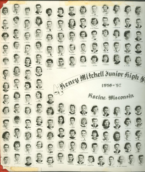 Left and Middle of Mitchell Jr. High 1956-57 9th grade composite