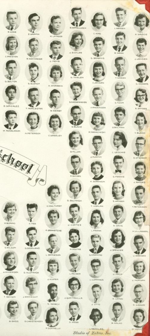 Right side of 1956-57 Mitchell Jr. High 9th grade composite