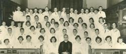 Holy Communion Church 1957 Confirmands    I see many familiar faces, Judy Spencer between Karen Borkus & Joan Peters