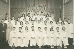 Atonement Lutheran Church 1957 Confirmation Class: L to R: Carol Jensen, Charles Odders, Virginia Willetts, Robert Pouls
